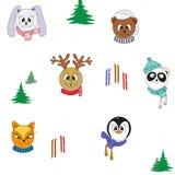 Animais bonitos dos desenhos animados na roupa do inverno Teste padrão sem emenda do Natal da cor do vetor ilustração royalty free