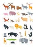 Animais bonitos dos desenhos animados O animal da floresta, do savana e de exploração agrícola vector a coleção isolada no branco ilustração do vetor