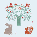 Animais bonitos e árvore da fantasia Fotos de Stock Royalty Free
