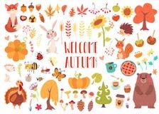 Animais bonitos e plantas ajustados ilustração stock