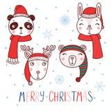 Animais bonitos em chapéus de Santa ilustração stock