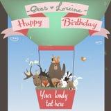 Animais bonitos no balão Imagem de Stock Royalty Free