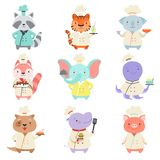 Animais bonitos no grupo uniforme do cozinheiro chefe, caráteres dos animais de estimação dos desenhos animados que cozinham a il ilustração do vetor