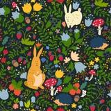 Animais bonitos no teste padrão sem emenda da floresta mágica Ilustrações do vetor do coelho e do ouriço para o bebê Fotos de Stock Royalty Free