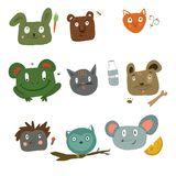 animais bonitos para etiquetas e etiquetas ilustração royalty free