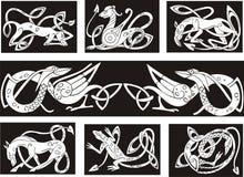 Animais celtas do wuth dos testes padrões de nó ilustração royalty free