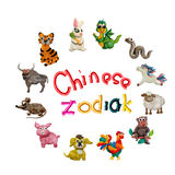 Animais chineses coloridos do zodíaco do plasticine 3D Fotos de Stock Royalty Free