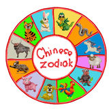 Animais chineses coloridos do zodíaco do plasticine 3D Foto de Stock
