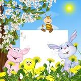 Animais com o cartaz contra flores e blos Fotos de Stock