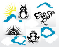 Animais criativos em um fundo claro ilustração do vetor
