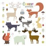 Animais da floresta ajustados no estilo liso Ilustração do vetor ilustração royalty free