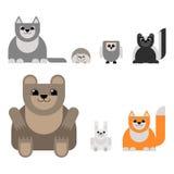 Animais da floresta ao estilo do projeto material Urso, ilustração royalty free