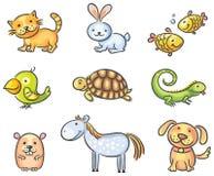 Animais de animal de estimação dos desenhos animados Fotografia de Stock Royalty Free