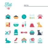 Animais de estimação, ícones lisos ajustados Imagens de Stock Royalty Free
