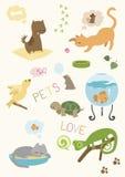Animais de estimação bonitos ajustados Fotos de Stock Royalty Free