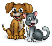 Animais de estimação do gato e do cão dos desenhos animados ilustração royalty free