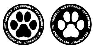 Animais de estimação permitidos o sinal Símbolo preto e branco da pata no círculo com animal de estimação Imagem de Stock