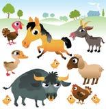 Animais de exploração agrícola ajustados no fundo branco Imagens de Stock Royalty Free