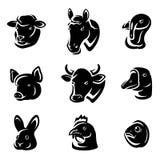 Animais de exploração agrícola ajustados. Vetor Imagens de Stock Royalty Free