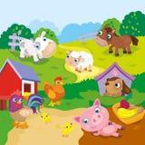 Animais de exploração agrícola bonitos dos desenhos animados Imagens de Stock Royalty Free