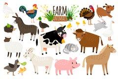 Animais de exploração agrícola Coleção doméstica do animal de exploração agrícola isolada no vetor do branco, do ganso e do asno, Fotos de Stock