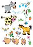 Animais de exploração agrícola criançolas ajustados Imagem de Stock