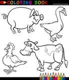 Animais de exploração agrícola dos desenhos animados para o livro para colorir ilustração do vetor