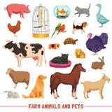 Animais de exploração agrícola e animais de estimação ajustados Foto de Stock Royalty Free