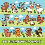 Animais de exploração agrícola engraçados ajustados dos desenhos animados Fotografia de Stock Royalty Free