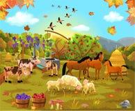 Animais de exploração agrícola no campo do outono ilustração royalty free
