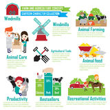 Animais de exploração agrícola, personagens de banda desenhada infographic Imagens de Stock