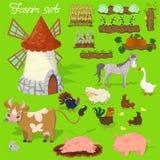 Animais de exploração agrícola - vaca, porco, carneiro, cavalo, galo, galinha, peru, galinha, ganso, coelho Agraculture e moinho  ilustração do vetor