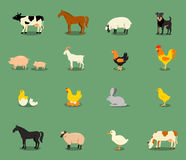 Animais de exploração agrícola ajustados no estilo liso do vetor Fotos de Stock