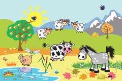 Animais de exploração agrícola dos desenhos animados no pasto Imagens de Stock