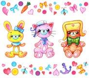 Animais de Kawaii para crianças e amantes de Japão Imagem de Stock
