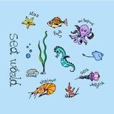 Animais de mar ajustados Fotografia de Stock