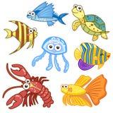 Animais de mar dos desenhos animados ajustados com fundo branco Imagens de Stock