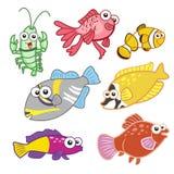 Animais de mar dos desenhos animados ajustados com fundo branco Fotos de Stock Royalty Free