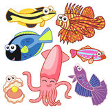 Animais de mar dos desenhos animados ajustados com fundo branco Fotografia de Stock