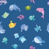 Animais de mar dos desenhos animados, teste padrão sem emenda Baleia, tubarão, golfinho e outros peixes e animais Ilustração do f Imagem de Stock