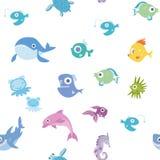 Animais de mar dos desenhos animados, teste padrão sem emenda Baleia, tubarão, golfinho e outros peixes e animais Ilustração do f Fotos de Stock