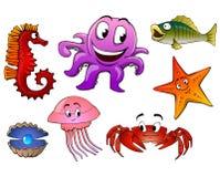 Animais de mar isolados Imagem de Stock
