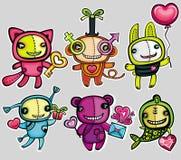 Animais do brinquedo do dia do Valentim. Fotografia de Stock