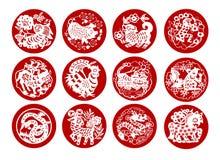 Animais do calendário chinês Imagem de Stock
