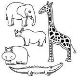 Animais do esboço ajustados Imagens de Stock