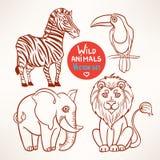 Animais do esboço da selva ilustração stock