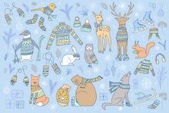 Animais do Natal ajustados fotografia de stock