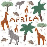Animais do safari de África ilustração royalty free
