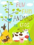 Animais domésticos da exploração agrícola engraçada colorida dos desenhos animados Imagem de Stock