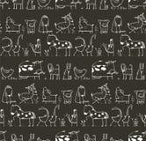 Animais domésticos da exploração agrícola engraçada dos desenhos animados sem emenda Imagem de Stock Royalty Free